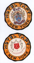 Collectable Hotel label ,luggage labels New York Hotel Taft #307